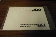 NUOVO MASSEY FERGUSON MF 200 hi-dump Rimorchio operatori manuale di istruzioni 7.0