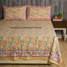 Hand Block Printed Double Bed Sheet With Pillow Covers Home Decorative Bad Throw