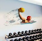 Water Polo Sticker, Sport Decal, Polygonal Gym Home Decor, Waterweed Wall Art