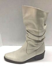 """NICOLE """"DEED"""" Boots CREAM Slouch Heel Mid-Calf Casual Womens Size 8.5 M"""