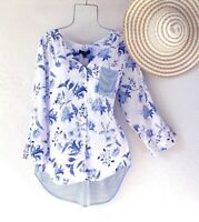 New~Medium~French Blue White Floral Stripe Blouse Shirt Boho Top~8/10/M