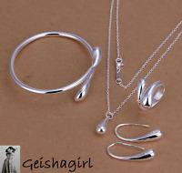 Quality 925 Silver Drop Jewellery Set Necklace Bracelet Bangle Earring Ring UK