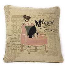 "DaDa Bedding French Royal Dogs Pets Animals Throw Pillow Cushion Cover 18"" x 18"""