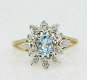 9ct Yellow Gold Blue Topaz & Diamond Cluster Ring Size O, US 7