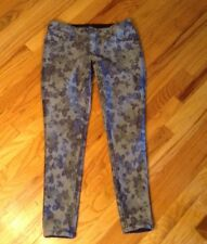 Flip Side Flipside Reversible Blue Roses and Dark Blue Skinny Women's Jeans Sz 7