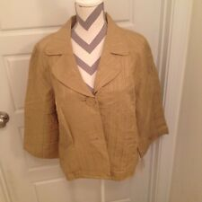 EMMA JAMES WOMAN Size 16 Brown Button Up Top Jacket Lined  Long Sleeves NEW