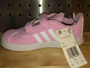 Adidas VL Court 2 Big Kid's Girl's Sneakers Shoes Pink & White, size 10, NEW