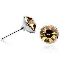 18k White Gold Filled Brown Round Stud Earring Made With Swarovski Crystal XE104