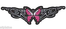 Grand patch brodé PINK TRIBAL BUTTERFLY - Style BIKER HARLEY