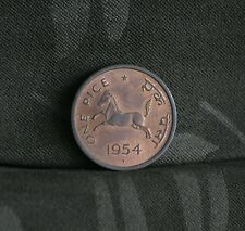 1954 India 1 Pice Bronze World Coin Unc Horse Asoka Lion Mumbai