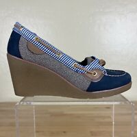 Sperry Bluefish Wedge Boat Shoes Womens Size 8 M Blue Leather