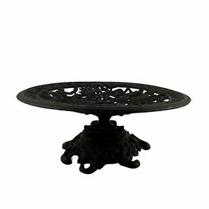 Vintage Black Cast Metal Greek Art Nouveau Pedestal Compote Fruit Candle Decor