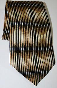 Ambrosia Hand Made 100% Silk Gold/Black/White Tie
