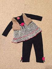 "NEW ""BLACK Rose Dot"" Vest & Pants Girls 5/6 Fall Winter Clothes Kids Boutique"