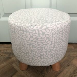 """New round footstool With Handmade Cover In Laura Ashley """"little Vines"""" Fabric"""