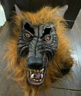 Wolfman Adult Mask Latex Rubber Scary Werewolf Monster Party Halloween Brown