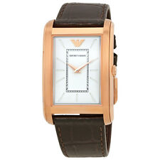 Emporio Armani White Dial Brown Leather Mens Watch AR1901