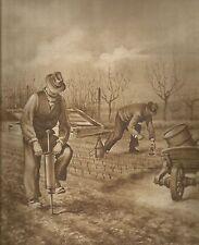 K0383 Agricoltori - Carriola in legno - Pali iniettori - Stampa antica