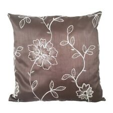 "Satin Beige Flower Embriodery 18x18"" Decorative/Throw Pillow Case/Cushion Cover"