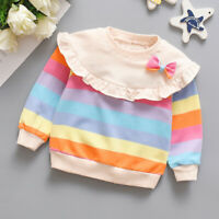 Toddler Baby Girls Rainbow Stripe Ruffle Long Sleeve T-shirt Tops Clothes US