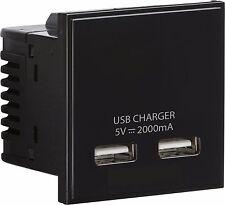 Knightsbridge NERO MODULARE Dual USB Charger slot PORT MODULE 5V DC 2A 2x 1A