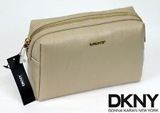DKNY Donna Karan SLGS Vintage Pu Cosmetic Case Purse MakeUp Bag $105.00 Beige