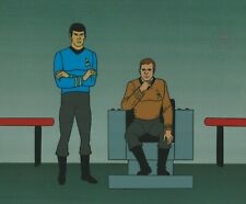 Star Trek Sericel 1995 cel Filmation 1973 - Spock, James T Kirk at the helm
