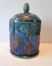 VINTAGE INDIANA? CARNIVAL GLASS BLUE CANDY DISH WITH LID JAR IRIDESCENT GRAPES