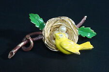 Vtg Florenza Trembler Pin Brooch Jeweled Enamel Bird Nest Jeweled Goldtone