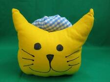 WEIRD ONE-OF-A-KIND STRETCHY YELLOW KITTY CAT BLUE RING FABRIC PLUSH FOLK ART