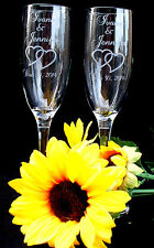 Qty-2 Personalized Champagne Flute Engraved w Couple's Names and Wedding Date