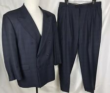 Louis Feraud Double Breasted 100% Suit Men's 44R Pleats Cuffs 38x31 Navy Black