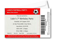20 Personalised Football Ticket Birthday Party Invitations - Invites boy girl F1