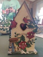Hanging Vintage Decorative Metal Bird House Cardinals Snow Red Flowers Winter