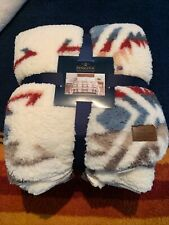 "Pendleton Sherpa Fleece Blanket King Size White Sands Multi Southwest 112"" X 92"""