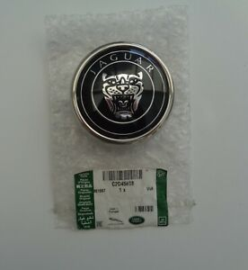 """JAGUAR """"GENUINE"""" BLACK  RADIATOR GRILLE BADGE WITH STAINLESS MOUNTING FITS ALL"""