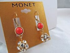 NWT MONET GOLD & CORAL ENAMEL & CRYSTAL BALL DANGLE EARRINGS, Stunning Sparkle