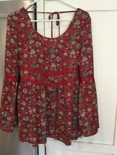 New Band of Gypsies Flare Sleeve Floral Red Print Lace Detailed Boho Sz S