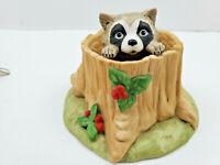 Vintage Woodland Surprises Raccoon Figurine Franklin Porcelain