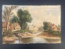 tableau aquarelle XIX ème siècle Ecole Belge Flamande Hollandaise monogramme