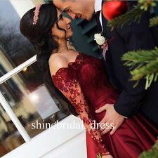 Burgundy Long Sleeve Lace Satin Prom Party Formal Gown Evening Quinceanera Dress