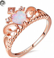 Fashion Sz6-10 Queen Rose Gold Heart Cut White Fire Opal CZ Crown Wedding Ring