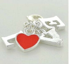 STERLING SILVER FINISH RED HEART LOVE WORD CLIP ON CHARM