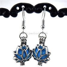 Women Silver Blue Flower Lotus Bead Cage Locket Hook Earrings Dangle