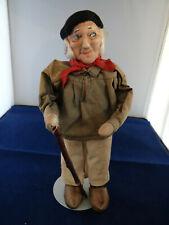 Original Bernard Ravca Stockinette Old Man Doll With Walking Stick 1930's France