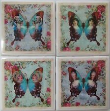 Set of 4 - Handmade Natural Ceramic Tile / Stone Drink Coasters - Butterfly 4 -F