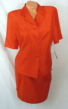 Josephine Chaus Petite Womens Silk 2 Piece Skirt Suit Size 10 12 Red NWT Lined
