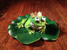Frog Prince Fairy Garden Miniature Sculpture With A Golden Crown On A Lily Pad