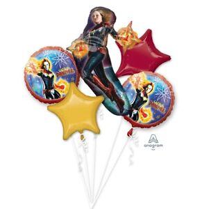 Marvel Movie Captain Marvel Birthday Party Favor 5 CT Foil Balloon Bouquet