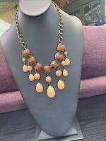 "Vintage Necklace Gold Tone Bold Dangle Charm  Statement Bib  18"" Pumpkin spice"